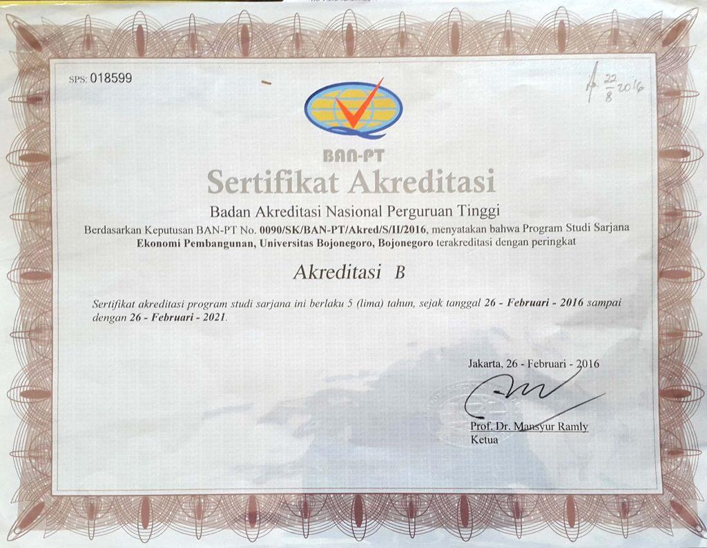 Sertifikat Akreditasi Prodi Unigoro